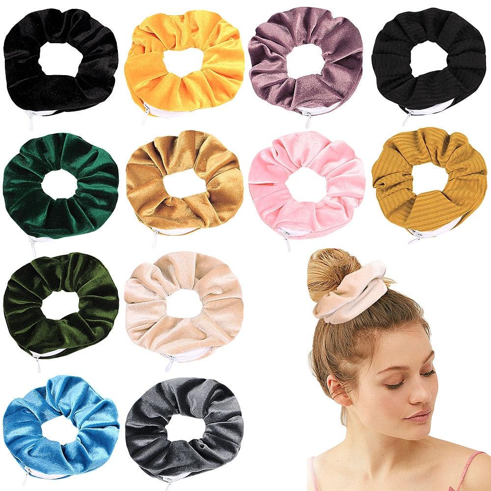 Velvet Scrunchies Zipper Hair Scrunchies Women Elastic Hair Bands Girls Headwear Ponytail Holder Hair Ties Accessories