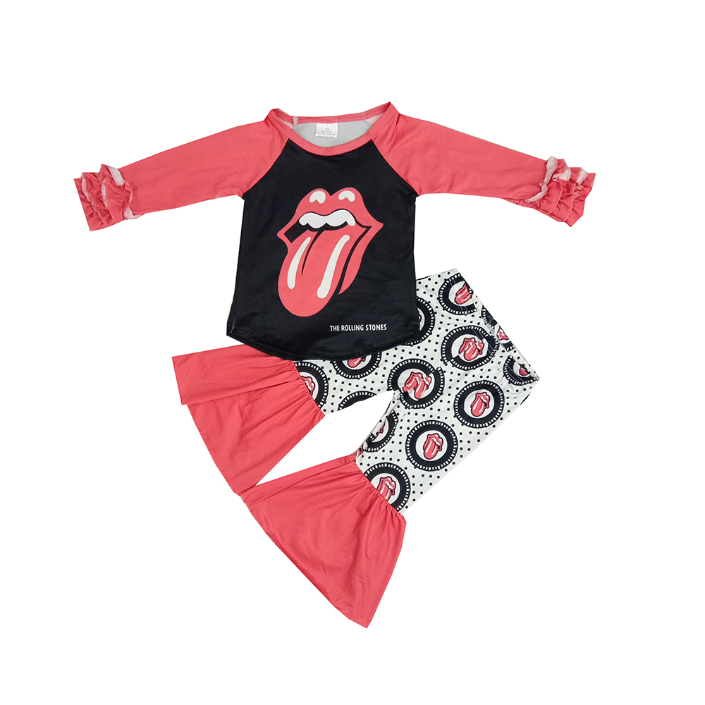 2020 casual Baby girls long ruffle sleeve red ready to ship 2pcs cute fashion tongue and pants rock pattern outfits <font><b>bf</b></font> image image