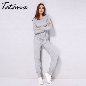 Image 3 - Tataria Women Sweater Suits and Set Autumn Winter Knitted Tracksuit Women 2 Piece Sweater Suit Pants Clothing Sets Sporting Suit