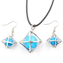 FYJS Unique Silver Plated Merkaba Star Point Pendant Necklace Drop Earrings Green Turquoises Stone Jewelry Sets