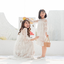 Mother Daughter Dresses 2019 Lace Hollow Mother Daughter Matching Clothes Family Look Girl and Mom Clothing Loose Dress Elegant 2018 summer maxi dress bohemian mother daughter dresses matching mother and daughter clothes family look girl and mother dress
