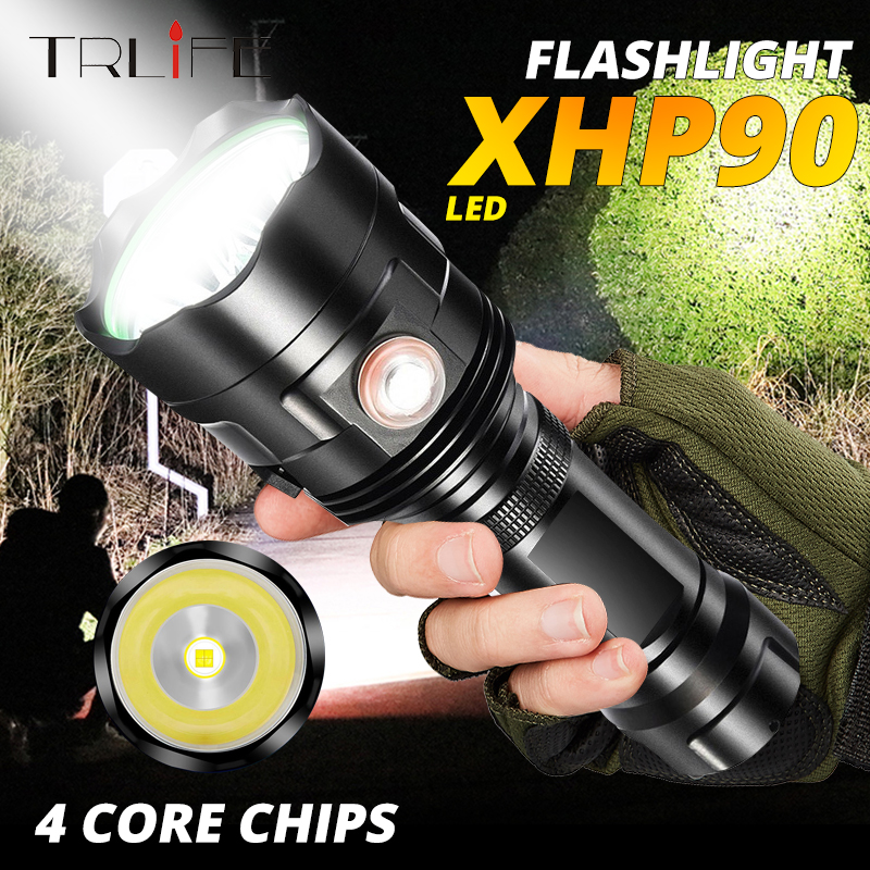 Powerful 3*XHP50 LED Flashlight XHP90 Torch Rechargeable Waterproof Lamp Ultra Brigh Led Flash Light 6 Modes Outdoor Torch Light