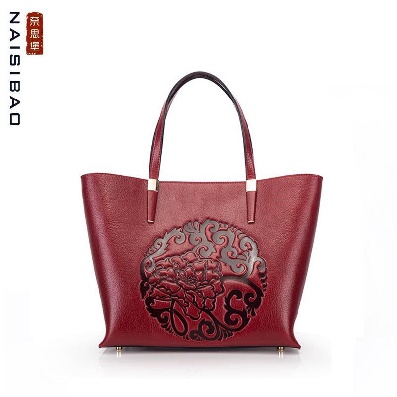 NAISIBAO 2019 New women Genuine Leather bag Embossed Top cowhide fashion luxury handbags designer leather shoulder