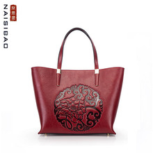 NAISIBAO 2019 New women Genuine Leather bag Embossed Top cowhide fashion luxury handbags designer women leather shoulder bag цена 2017