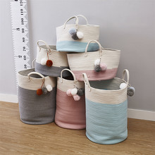 INS New Cotton Rope Woven Laundry Basket Pompom Ornaments Washing Dirty Clothes Storage Bin Kids Toys Foldable Hamper