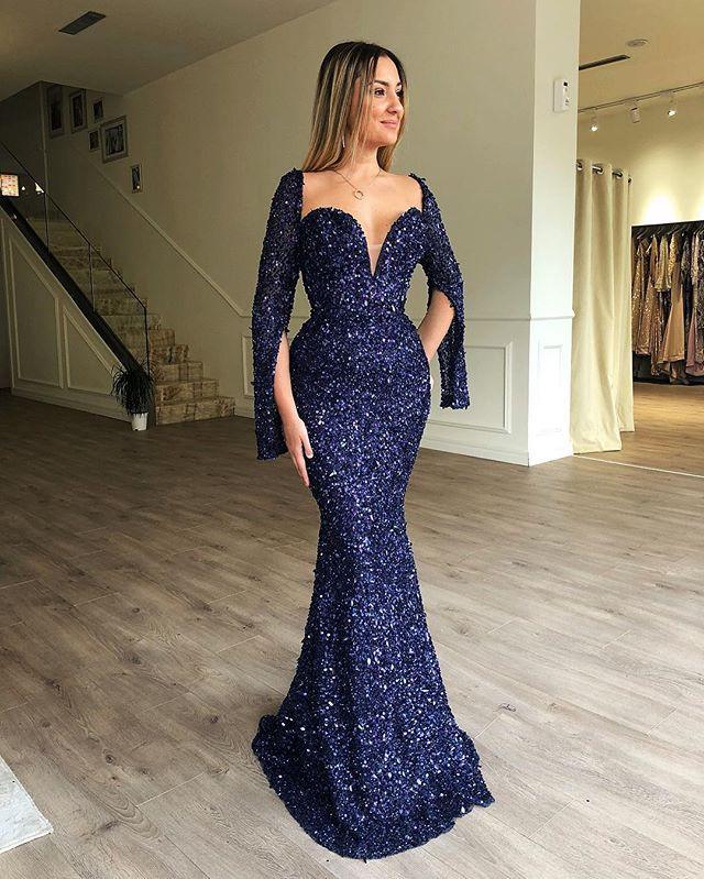 Роскошный блеск блестками женские Русалка вечернее платье размера плюс с длинными выпускные платья, подходящие для официальная Вечеринка Robe de soiree