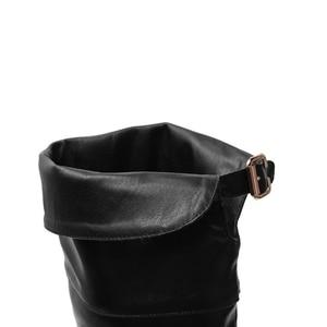 Image 5 - לעזוב כל חתול חדש נשים עור מגפיים מעל הברך מגפי נמוך עקבים Slim ארוך מגפיים שחור חום גברת חורף חם נעליים באיכות גבוהה