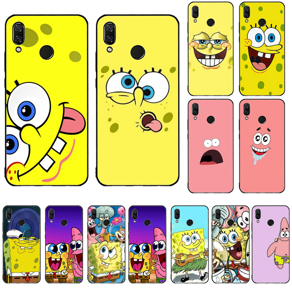 SpongeBob Silikon Lembut Hitam Ponsel Case untuk Redmi 5 Plus 6 Pro 6A S2 4X 7A I7 Note7 Pergi