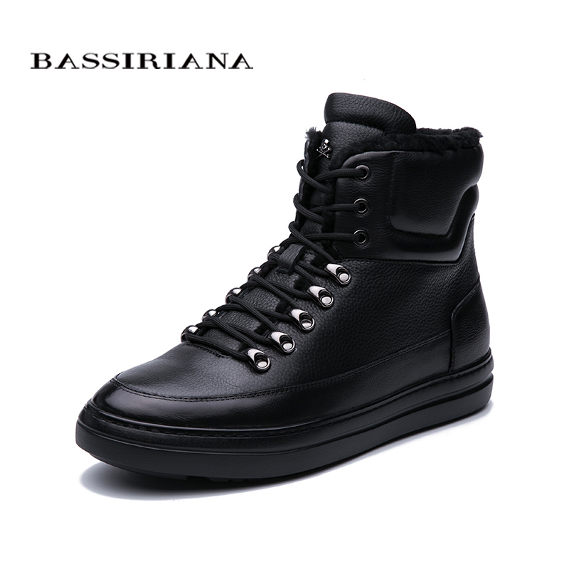 BASSIRIANA New 2019 winter mens leather shoes black flat high quality comfort free shipping