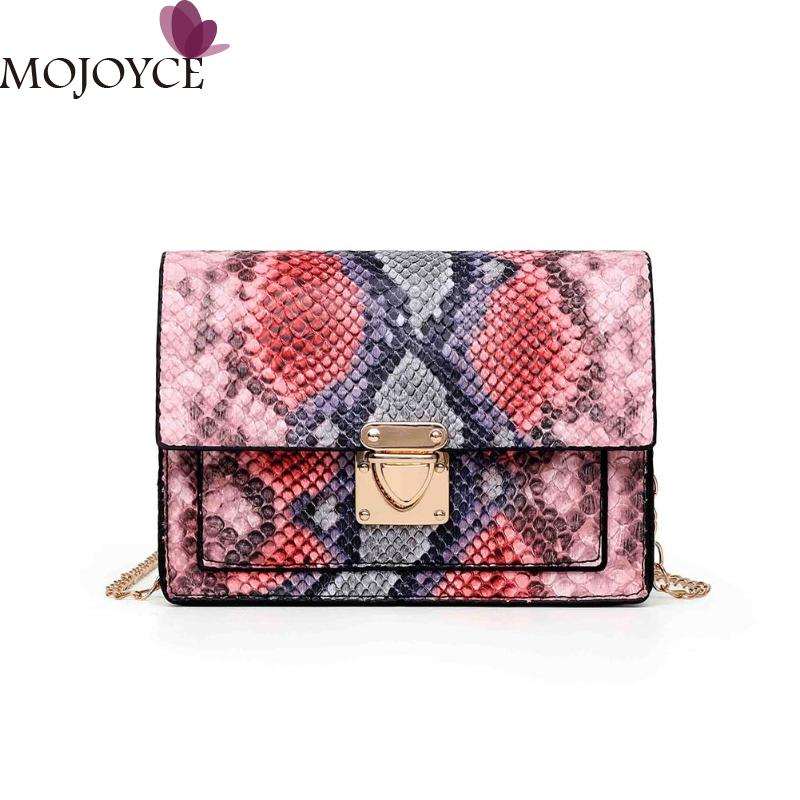 Fashion Snake Print Small Messenger Bag Women PU Leather Retro Shoulder Crossbody Chain Handbag