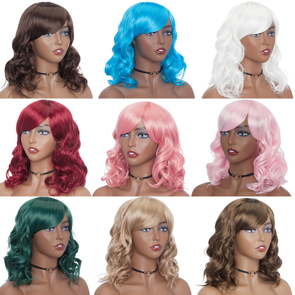 Image 5 - SNOILITE 14inch Bob Wig With Bangs Synthetic Short Wavy Bob Hair Wigs For Women Heat Resistant Brown Pink Red Ombre Cosplay WigsSynthetic None-Lace  Wigs   -