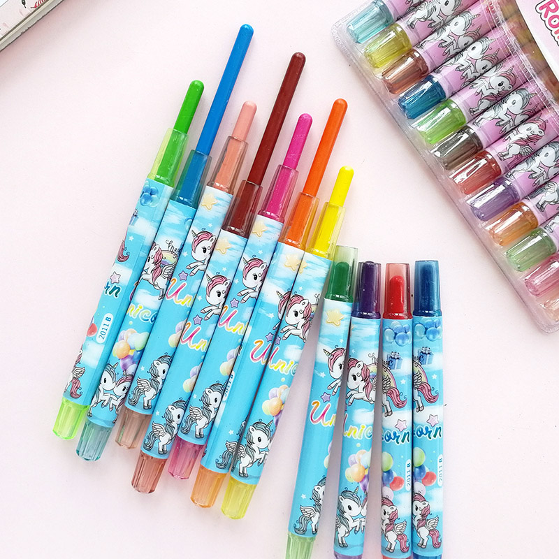 12pcs/set Unicorn Crayon Korean Creative Graffiti Kawaii Oil Pastel Pens For Kids Painting Drawing Art School Office Supply
