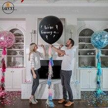 1 lote, tamaño grande de 36 pulgadas, tenemos un... Gender Reveal globos de látex confeti azul y rosa, globo de aire de látex para baby shower