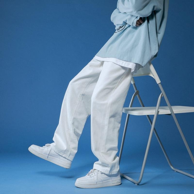 Джинсы-шаровары мужские прямые, однотонные брюки из денима, свободные штаны в Корейском стиле, Повседневная Уличная одежда, 6 цветов, белые/ч...