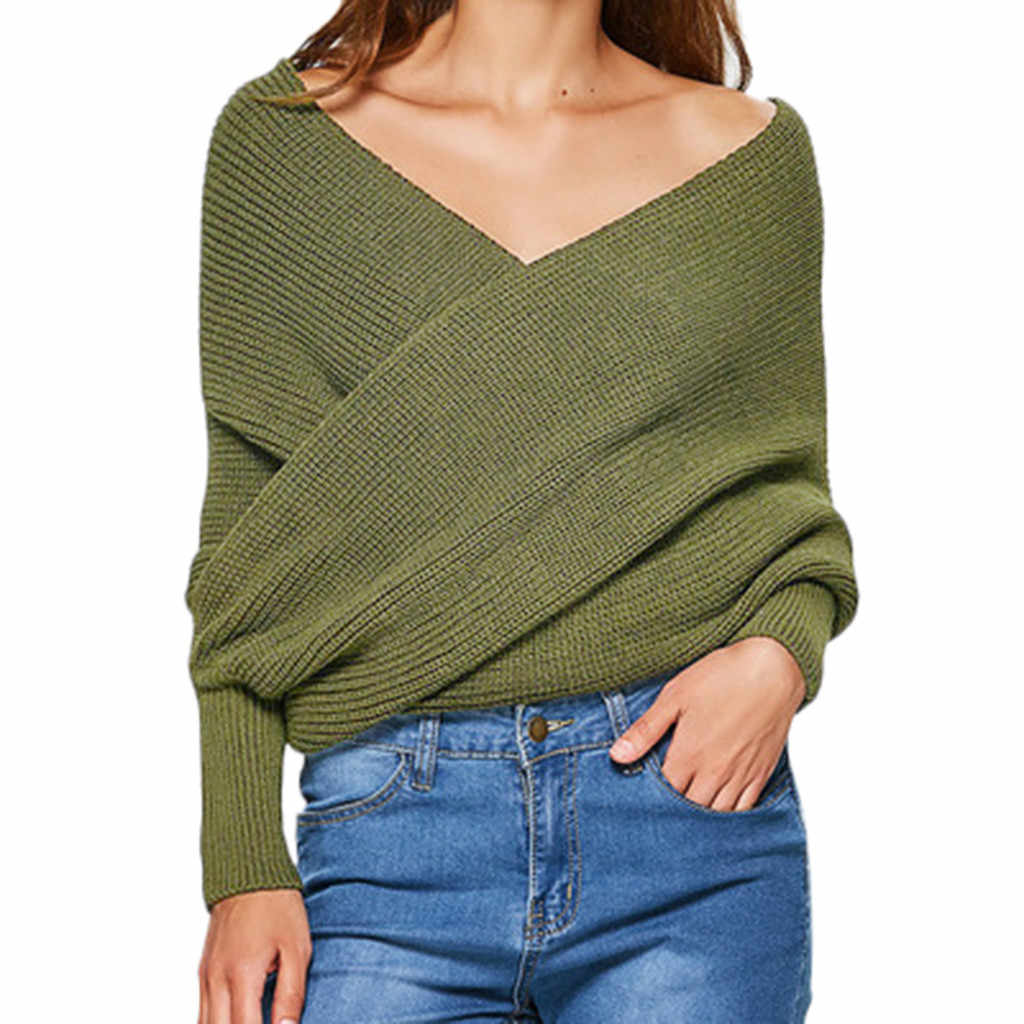 Women's Sweater Cross Shoulders Cape Top Long Sleeve Blouse Female Knitted Sweater Tops For Girl Pullover Jumper Pull femme