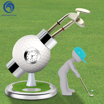 Golf Pen Holder with Clock Office Desktop Decoration Ball Pen Holder Stand with 3 Color Golf  Souvenirs Unique Gifts for Golfer golfers pen set with clock