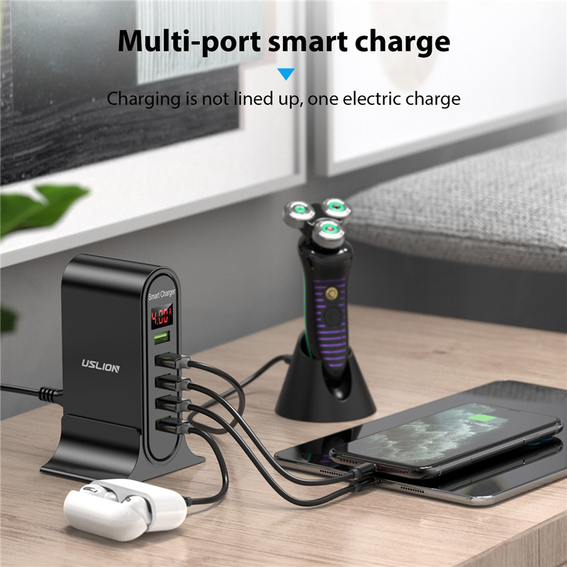 USLION 5 Port USB Charger with LED Display for Universal Phone 5