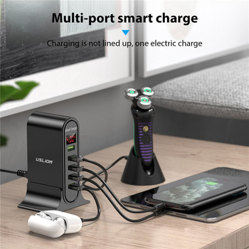 USLION 5 Port USB Charger with LED Display for Universal Phone 10