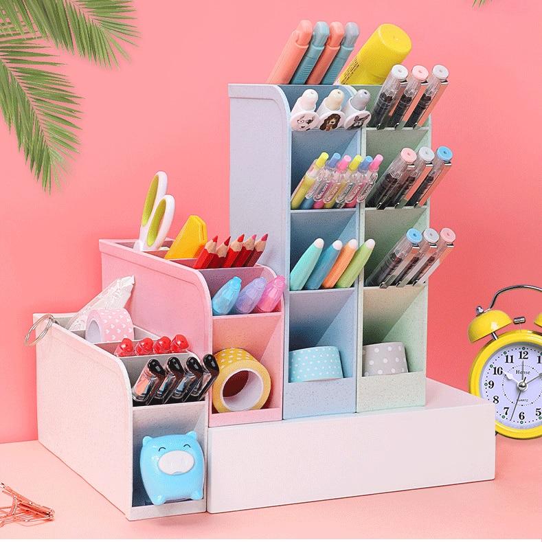 Grid Multi-function Desktop Pen Holder Clip Card Storage Box Make Up Brush Holder Desk Pencil Organizer Sundries Storage