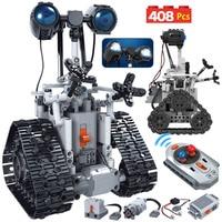 408 Uds ciudad creativa RC Robot eléctrico bloques de construcción para Legoing técnica de Control remoto inteligente Robot de ladrillos juguetes para niños