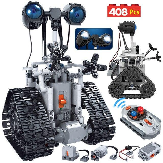 408PCS City Creative MOC RC Robot Electric Building Blocks Legoing Technic remote Control Intelligent Robot Bricks Toys For boys