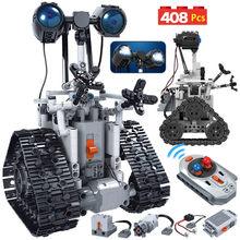 ZKZC 408 sztuk miasto kreatywny RC Robot elektryczne klocki high-tech pilot inteligentny Robot cegły zabawki dla dzieci