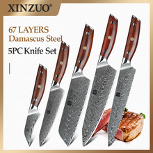 XINZUO 5 PCS Knife Set vg10 Damascus Steel Kitchen Knives Set Stainless Steel Cleaver Chef Utility Paring Knife Rosewood Handle