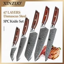 XINZUO 5 PCS ชุดมีด VG10 ดามัสกัสเหล็กมีดครัวชุดสแตนเลส Cleaver Chef Utility มีดปอกเปลือก Rosewood Handle