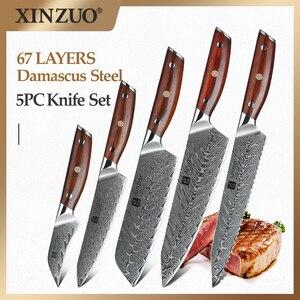 Image 1 - Xinzuo 5 個ナイフセット vg10 ダマスカス鋼包丁セットステンレス鋼包丁シェフユーティリティ果物ナイフローズウッドハンドル