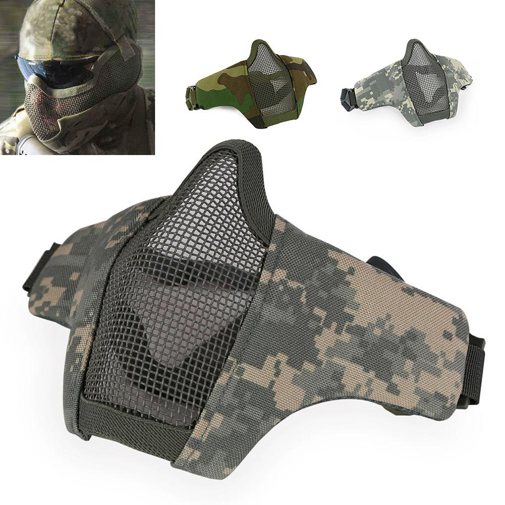 New Camouflage Breathable Half Half Face Mask Steel Net Mesh Mask For Tactical