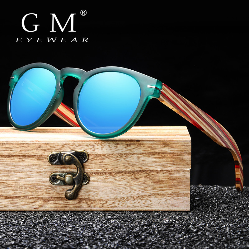 GM Brand Designer Polarized Sunglasses Men Plastic Frame Wood Earpieces Fashion Oval Sun Glasses Mirror <font><b>Lens</b></font> UV400 S5092 image