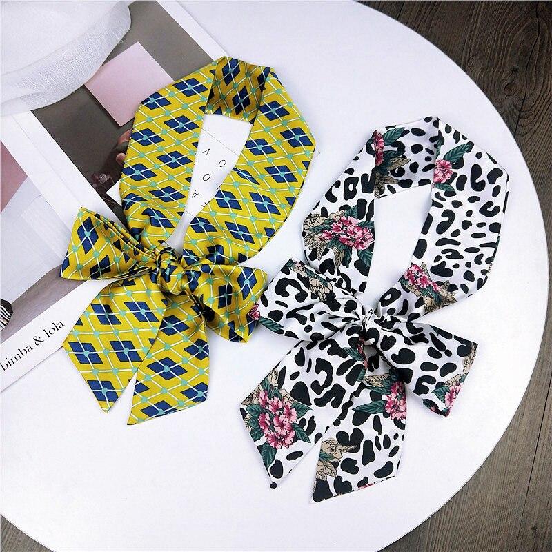 New Fashion Kerchief Hair Scarf For Women Animal Print Silk Satin Bag Scarfs Neckerchief Long Headband Skinny Scarves For Ladies
