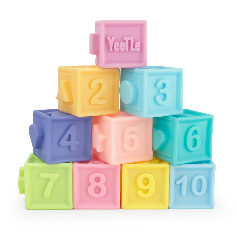 Kids Soft <font><b>Rubber</b></font> Embossed Building Silicone Blocks Toys 3D Touch Hand Ball Baby Massage <font><b>Rubber</b></font> Teether Squeeze Bath Toys for Boy image