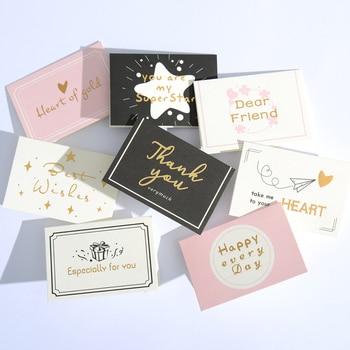 цена Christmas And Birthday Greeting Card Gold Hot Stamping Creative New Year Thank You Card Party Wedding Invitations Letter Cards онлайн в 2017 году