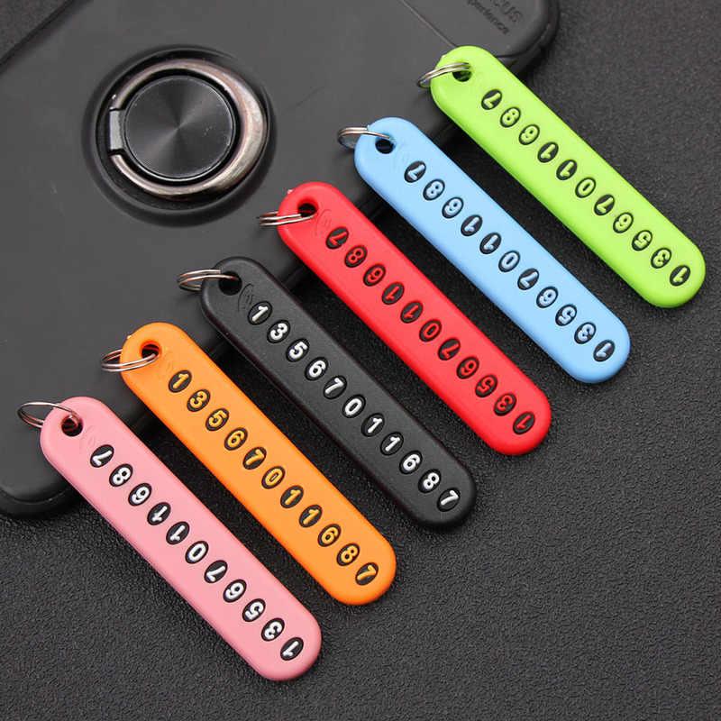 1pcs Anti-Lost Telefone Número Da Placa Do Carro Chaveiro Auto Veículo Keychain Anel Chave Do Carro Cartão de Número de Telefone chaveiros decoração
