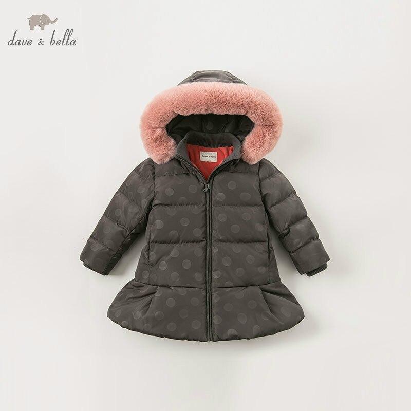 Dave bella winter baby meisjes donsjack kinderen 90% omlaag gewatteerde jas kids hooded bovenkleding met grote bont - 3