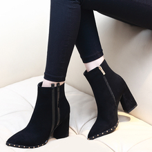 New Size 34-39 Hot Sale Black Booties Ladies Brand Square Heel Ankle Boots Women 2020 OL High Heel Shoes Woman CH-A0139 hot new square toe women ankle boots black patent leather short booties high heel side zip luxury brand super star runway shoes