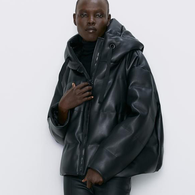 Fandy Lokar Zipper Short Parkas Women Fashion Pockets PU Leather Coats Women Elegant Winter Hooded Cotton Jackets Female Ladies 3