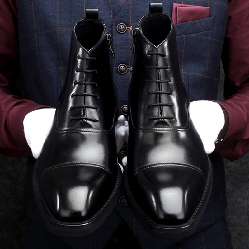 New Arrival Genuine Leather Men's Handmade Ankle Boots Square Toe Laces Cap Toe Oxfords Formal Dress Handmade Man Shoes HKN194 - 4