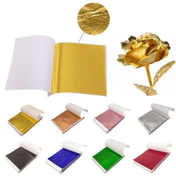 100 sztuk imitacja złota srebrna folia papieru arkusz liści złocenie sztuka DIY papier typu kraft urodziny wesele deser ciasto dekoracje tanie i dobre opinie CN (pochodzenie)
