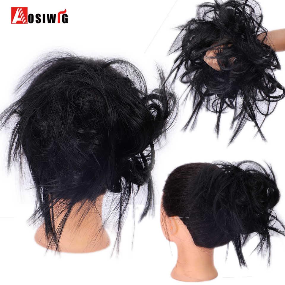 Aosiwig noiva sintética bagunçado reta falso donut chignon gary cor preta elástico cabelo elástico faixa de borracha cabelo bun extensão