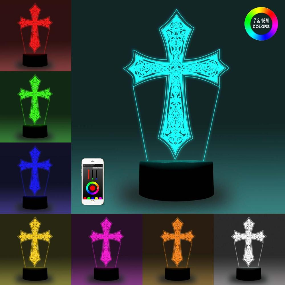 NiteApps 3D Cross Night Light Desk Table Illusion Decoration Lamp Holiday Birthday Gift APP/Touch Control