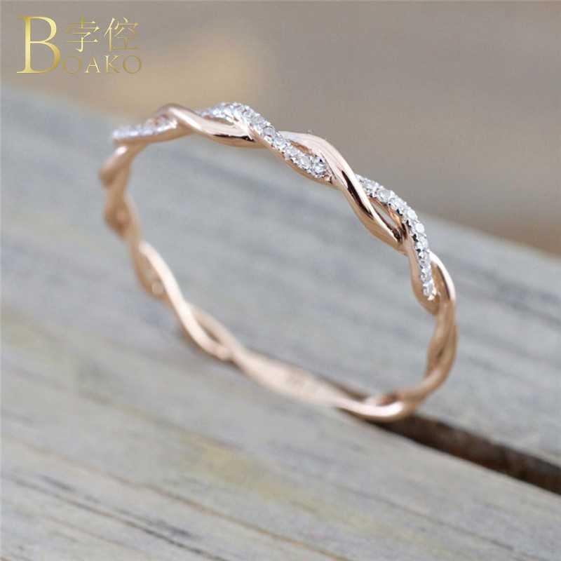 Dainty Zircon แหวน Twist สายแหวน Rose Gold เงินแหวนสาวครบรอบของขวัญ anillos Z5