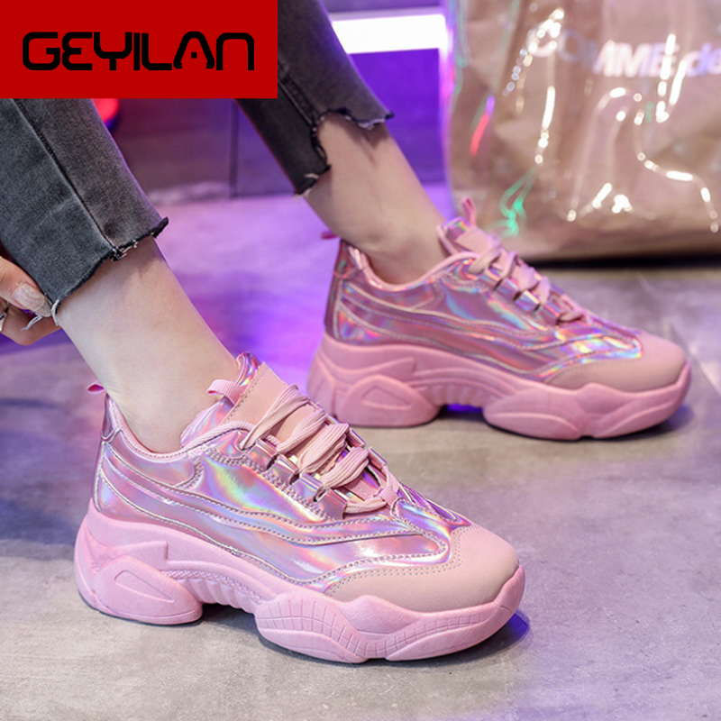 Spring Women Vulcanized Shoes Flat Sneakers Shoes Female Lace-up Ladies Fashion Casual Breathable Glossy Soft Shoes Y714