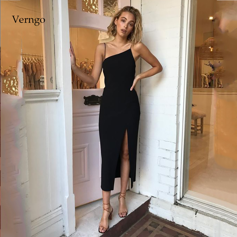 Verngo Simple Evening Dress Short Formal  Party Dress Gown Black Prom Dresses Valentine's Day Gowns  Evening Dress 2020