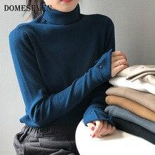 Underwear Sweaters Jumper-Button Turtleneck Oversize Long-Sleeve Loose Winter Women's