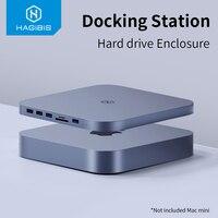 Hagibis-Hub DE USB-C con carcasa de disco duro SATA para Mac, mini concentrador USB 3,0 para Mac mini M1, tipo C, funda SSD, lector SD/TF, novedad de 2020