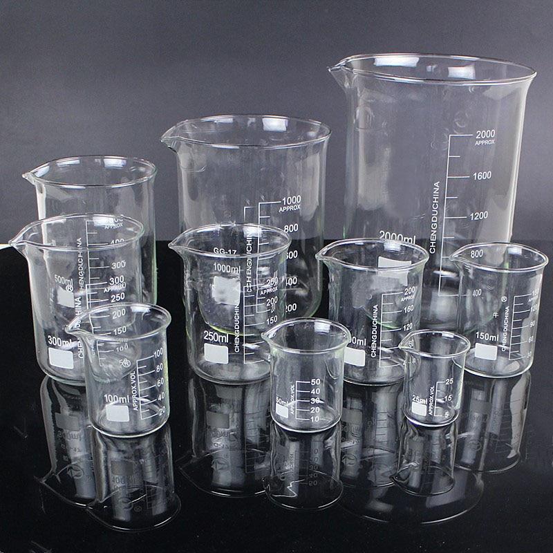 5pcs/set 25ml/50ml/100ml/150ml/500ml Glass Beaker Chemistry Experiment Labware For School Laboratory Equipment