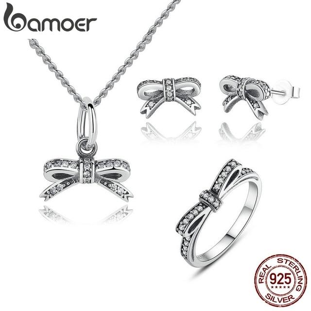BAMOER сверкающий лук узел, сверкающий серебряное кольцо ювелирные изделия для невесты Ювелирные наборы из стерлингового серебра и другие ZHS022