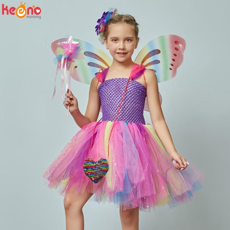 Girls Butterfly Fairy Fancy Tutu Dress Wings Costume Kids Princess Birthday Party Halloween Cosplay Kids Spring Tulle Dress 2